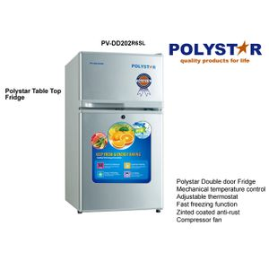 Polystar ENERGY SAVING DOUBLE DOOR REFRIGERATOR IN SILVER COLOUR 85LTRS