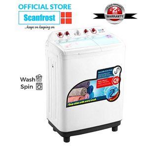 Scanfrost 6.8kg Twin Tub Semi-Automatic Washing Machine - SFSANTTD6.- White