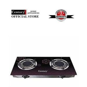 Century 2 Hob Glass Table Top Gas Cooker - Black