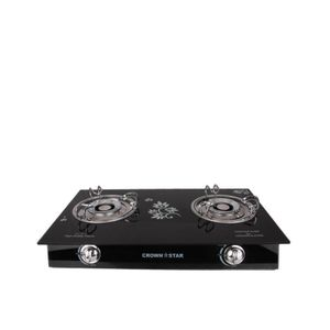 Crown Star Double Burner Glass Base Table Gas Cooker