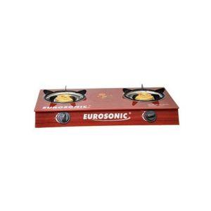 Eurosonic Two Burner Eurosonic Table Top Glass Gas Cooker-Red