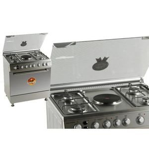 Polystar 80x60 Gas Cooker 4 Gas Burner, 1 Hotplate Double Oven And Stainless PVFS-80EG1