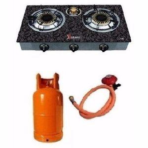 Saisho 3 Burner Gas Cooker + 12.5 Kg Cylinder + Gas Regulator + Gas Hose & Clip