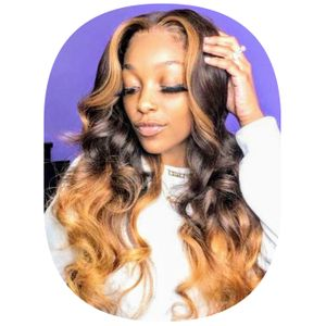 Indian Remy Ombre Highlight Wavy Wig With Closure, 20 Inches