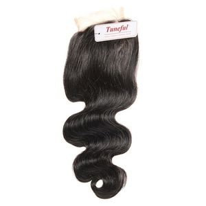 Tuneful Brazilian Lace Closure100%human Hair Body Weave4*4 All Hands Made Natural Colour - 10inches