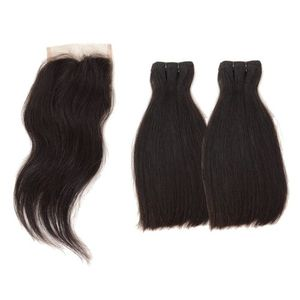 Straight Virgin Human Hair  With Closure 12''