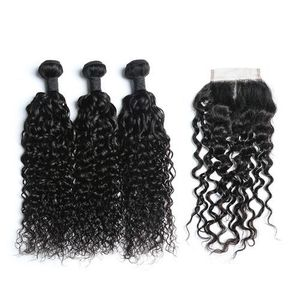 Virgin Human Hair Deep Curly 3 Bundles And Lace Closure 4x4