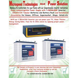Luminous Complete 1.5kva 24v Hybrid Solar Inverter Installation(All Lagos Mainland And Lagos Island)