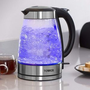 Tower 1.7 Litres Blue Illuminating Glass Jug - 3000W - Fast Boil - Stainless Steel Finish,