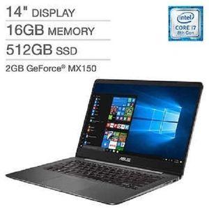 Asus ZENBOOK UX430UN Intel Core I7-8550U 1.8GHz,512gb Ssd/16gb,Nvidia MX150(2GB) Fingerprint Backlit,Window 10-GREY