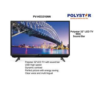 "Polystar 32"" INCH SMART CURVED TV With Netflix- Black  (1year Warranty)"